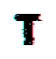 logo letter t glitch distortion vector image