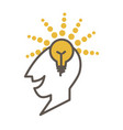 man head profile with lighted lamp as symbol of vector image vector image