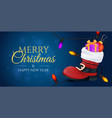 merry christmas and a happy new year banner red vector image