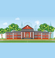 modern school with football field in front the vector image vector image