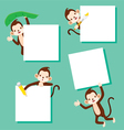 Monkey With Blank Sign Set vector image vector image