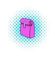 Paper pink lunch bag icon comics style