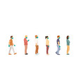 people stand queue and one person fits full vector image vector image