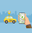 phone device with application for a taxi vector image