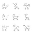 pram icon set outline style vector image vector image