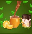 realistic design with orange tasty tea vector image vector image