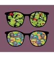 Retro sunglasses with many monsters reflection vector image vector image