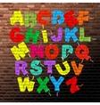 roller brush font set vector image