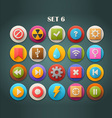 Round Bright Icons with Long Shadow Set 6 vector image vector image