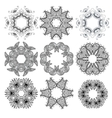 set black circle ornament patterns vector image