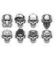 set hipster skulls vector image vector image