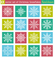 Set with snowflakes line stile vector image