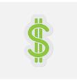 simple green icon - dollar currency symbol vector image vector image