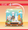 suitcase with landmarks iceland vector image vector image