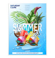 summer pool party tropical leaf sunglasses vector image vector image