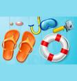 summer sea vacation snorkel camera flops vector image