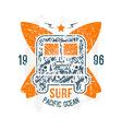 Surfing bus emblem vector image vector image