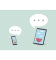 Tablet and smart phone with speech bubbles vector image vector image