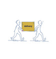 two courier man carry box delivery service doodle vector image