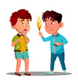 two little asian boys playing with matches vector image vector image