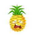 vexed pineapple face cute cartoon emoji character vector image vector image