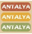 Vintage Antalya stamp set vector image vector image