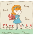 Vintage Valentines day card of girl with hearts vector image vector image