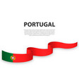 waving ribbon or banner with flag portugal