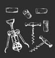 whie hand-drawn set corkscrews and plugs vector image vector image