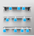 wobblers on wooden shelves blank price tags vector image