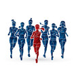women running marathon runners group of people vector image vector image