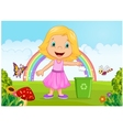 Young girl throwing trash into litter bin in the j vector image