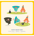 Mix of cute megaphone-speaker-bell cartoon charact vector image