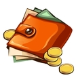 Leather wallet with money and coins vector image