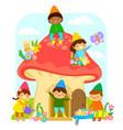 dwarfs in mushroom house vector image