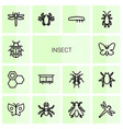 14 insect icons vector image vector image