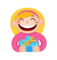 a girl holding a gift in a vector image vector image