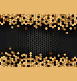 abstract gold hexagons pattern on black hexagonal vector image