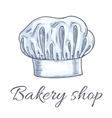 Bakery shop emblem of baker chef toque hat vector image