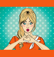 blonde pop art woman making heart sign with hands vector image vector image