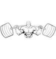 bodybuilder gym mascot line art vector image vector image