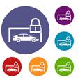 car and padlock icons set vector image vector image