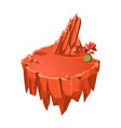 cartoon orange stone isometric island with lake vector image vector image