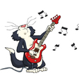 cat playing the electric guitar vector image vector image
