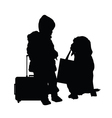 child with dog and travel bag vector image