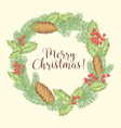 christmas hand drawn greeting card with wreath vector image vector image