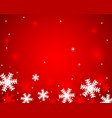 christmas red shiny background with snowflakes and vector image