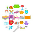cozy icons set cartoon style vector image vector image