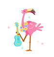 cute pink flamingo in flower wreath play ukulele vector image vector image
