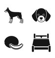 doberman puppy and other web icon in black style vector image vector image